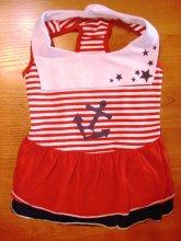 Удобное платье в модном морском стиле, подойдет мопсу, французику. Цена 745 руб.