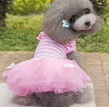 Трикотажное платье в полоску для мелких собак, цена 650 руб.